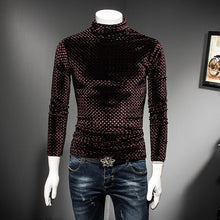 Load image into Gallery viewer, Black Coffee Slim Fit Turtle Neck T Shirt Men Luxury 2018 Autumn Winter Slim Fit Plaid Tshirt Club Outfit Camisas Masculina