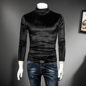 Black Coffee Slim Fit Turtle Neck T Shirt Men Luxury 2018 Autumn Winter Slim Fit Plaid Tshirt Club Outfit Camisas Masculina