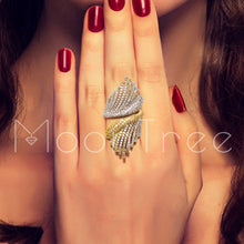 Load image into Gallery viewer, MoonTree Luxury Hollow Wings Designer Luxury Flower Cubic Zironia Engagement Dubai Naija Bridal Cocktail Finger Resizable Ring