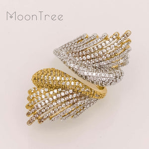 MoonTree Luxury Hollow Wings Designer Luxury Flower Cubic Zironia Engagement Dubai Naija Bridal Cocktail Finger Resizable Ring