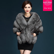 Load image into Gallery viewer, 2017 Winter Faux Fur Coats luxury fox fur imitation mink fur poncho bridal wedding dress shawl cape women vest fur coat wj1572