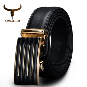 COWATHER Leather belts Automatic Buckle Cowhide Leather men belt Fashion Luxury male Straps Black Straps Alloy Buckle CZ030