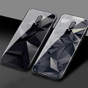 Luxury abstract graphite crystal Luxury One Plus 1+6T Soft Silicone Tempered Glass Phone Case Shell Cover For OnePlus 6 6T