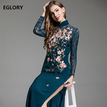 Load image into Gallery viewer, Best Quality Dress 2018 Autumn Winter Party Long Dress Women Luxurious Embroidery Long Sleeve Split Sexy Bodycon Dress Events