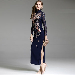 Best Quality Dress 2018 Autumn Winter Party Long Dress Women Luxurious Embroidery Long Sleeve Split Sexy Bodycon Dress Events