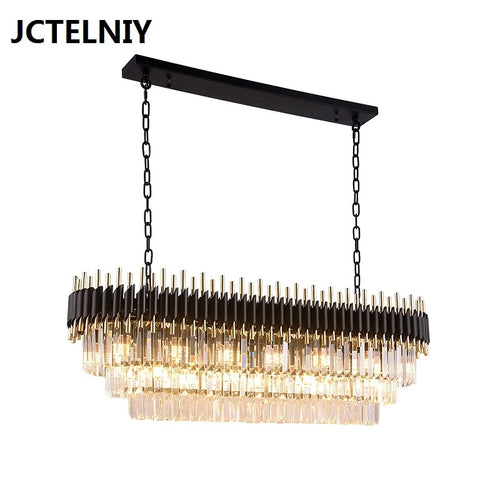 Light luxury crystal chandelier dining room chandelier rectangular table club bar Nordic modern luxury led lamps