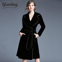 Load image into Gallery viewer, Brand 2019 Winter Runway Jacket Women's Luxury Velvet Dress Office Lady Notched Long Sleeve Midi Dress