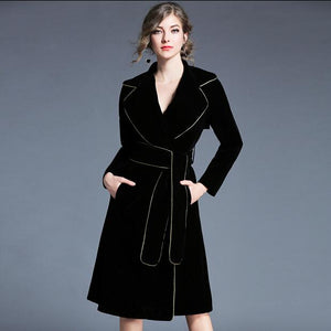 Brand 2019 Winter Runway Jacket Women's Luxury Velvet Dress Office Lady Notched Long Sleeve Midi Dress