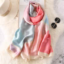 Load image into Gallery viewer, 2019 luxury brand Women Silk scarf Beach Shawl and Echarpe Luxurious Wrap Designer scarves Plus Size female beach stole bandana