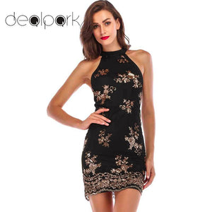Evening Sexy Black Gold Glitter Sequin Dress Women Party Dresses mesh clubwear christmas dress Luxury Nightclub Bodycon Dress