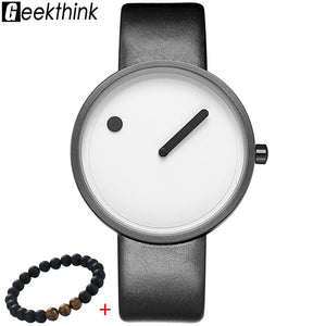 GEEKTHINK Top luxurious Brand  Quartz watch men Luxury Casual Black Japan quartz-watch Simple Creative Designer Fashion male