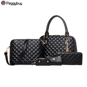 5 PCS/set Luxury Handbags Women Bags Designer Diamond Lattice PU Leather Top-Handle Tote Bag