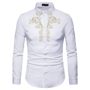 JAYCOSIN 2019 new long-sleeved men's autumn and winter luxury casual gold embroidery long-sleeved shirt jacket luxury