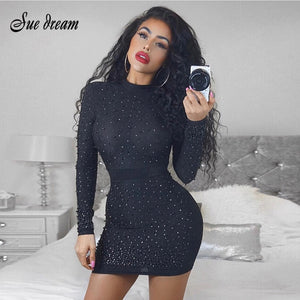 2018 new top luxury design luxury pearl embellishment long-sleeved women's celebrity club dress party sexy mini dress