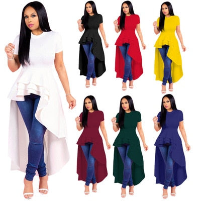 2018 African Dashiki Round neck short sleeve pleat irregular dress T-shirt Lovely Bazin Suit For Lady Free Shipping