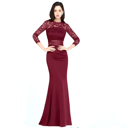 Luxury Claret Lace O Neck Formal Gown Long Mermaid Sexy Ladies Luxury Evening Party Dresses Long Dress For Wedding Party 2019