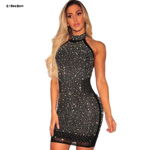 ERDAOBEN Women bandage Luxury Celebrity Evening Party Dresses backless Sleeveless Halter Diamonds Black Dress Vestid H5018