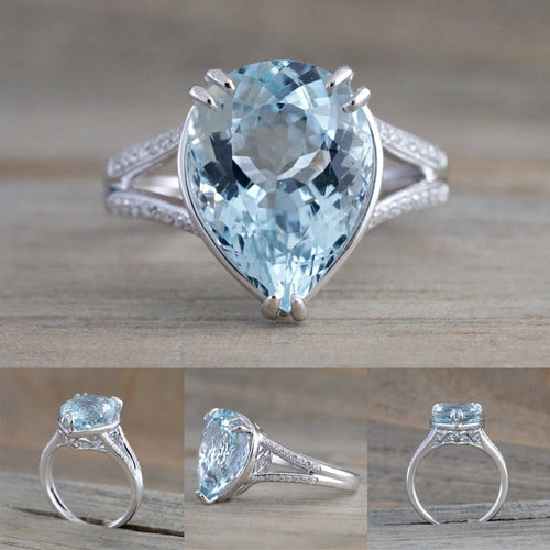 Luxury Fashion Lady's Diamond Wedding Ring Engagement Aquamarine Dripping Ring