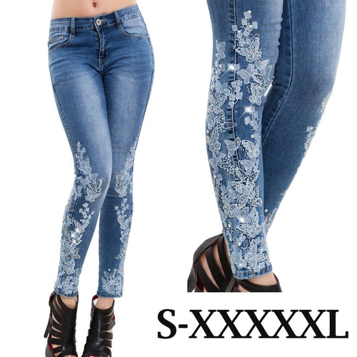High Waist Luxury Embroidery Beads Jeans  Skinny Pants Rhinestone Elasticated