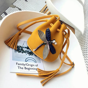 2018 fashion Women Messenger Bags Female Luxury Bucket Bag Cute Three-dimensional Dragonfly Shoulder Bag WML99