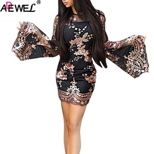 ADEWEL 2019 New Black Gold Floral Mesh Bodycon Party Mini Dresses Women Sexy Luxury Sequined Round Neck Long Flare Sleeves Dress