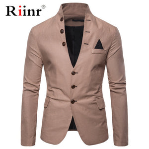 Riinr New Arrival Luxury Men Blazer New Fashion Brand High Quality Cotton Blends Slim Fit Men Suit Terno Masculino Blazers Men