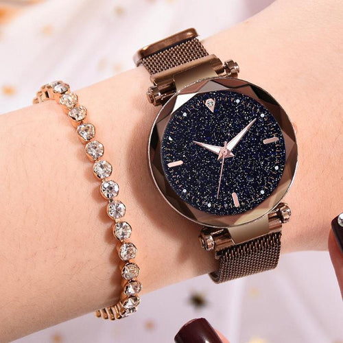 2019 Simple Fashion Women Magnetic Mesh Watches Luxury Casual Starry Sky Watch  Luxury Crystal Rhinestone Stainless Steel Quartz
