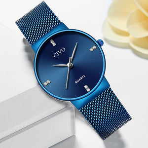 CIVO Fashion Women Watches Slim Steel Mesh woman Watch Waterproof Simple Quartz Wrist Ladies Luxury Dress Casual reloj mujer