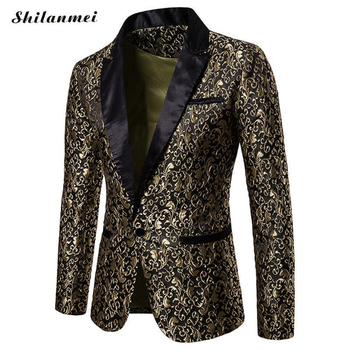 Men'S Stylish Luxury Casual Vintage Slim Blazer Winter Party Evening Long Sleeve Single Button Coat Suit Jacket Coat Gold