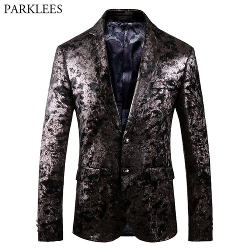 Luxury Black Velvet Bronzing Blazer Jacket Men Wedding Groom Singer Suit Blazer Men Slim Fit Single Breasted Tuxedo Blazer Homme