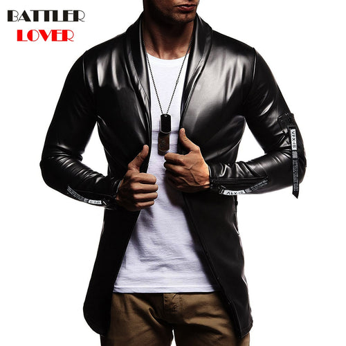 Luxury Men Blazer Spring Fashion Brand High Quality PU Leather Slim Fit Elastic Suit Mens Terno Masculino Blazers Men DJ Jacket