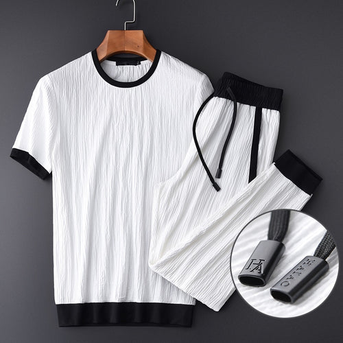 Minglu Summer Thin Men Sets (t-shirt+pants) Luxury Wrinkle Fabric Casual Sport Mens Sets Plus Size 4xl Contrast Color Man Sets