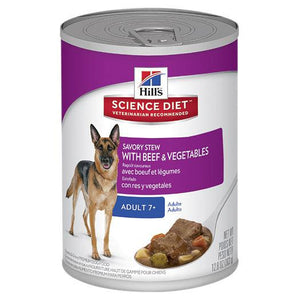 Hill's Science Diet Adult 7+ Savory Stew Beef & Vegetable Canned Dog Food 363g | Choice Vet Pharmacy