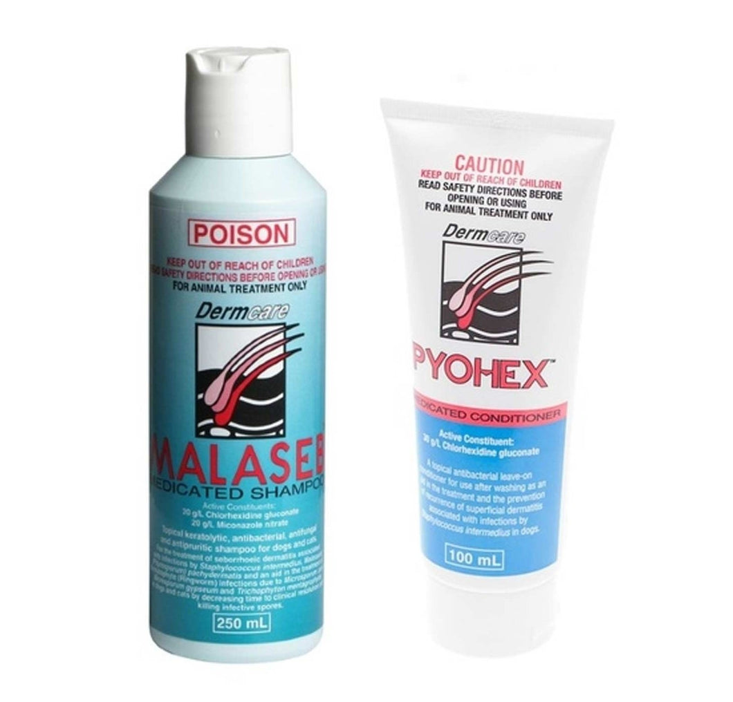 Dermcare Malaseb Dermcare Shampoo + Pyohex Conditioner Combo Pack | Choice Vet Pharmacy