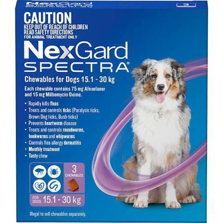 Merial NEXGARD SPECTRA 15.-30KG 3PK PURPLE | Choice Vet Pharmacy