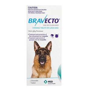 MSD Animal Healh Bravecto Chew For Large Dogs 20-40kg (Blue) | Choice Vet Pharmacy