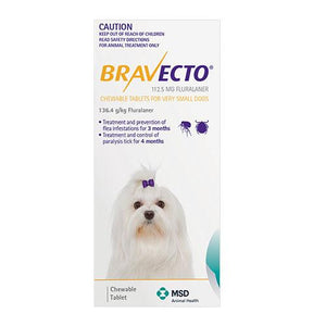 MSD Animal Healh Bravecto Chew For Toy Dogs 2-4.5Kg (Yellow) | Choice Vet Pharmacy