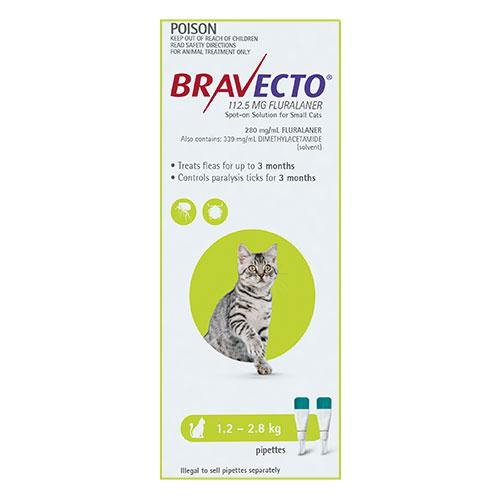 MSD Animal Healh Bravecto Spot On For Small Cats (1.2 - 2.8 kg) Light Green | Choice Vet Pharmacy