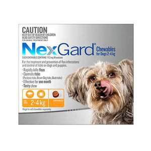 Merial NEXGARD CHEWABLES FOR DOGS (2 - 4 KG) ORANGE - 3s | Choice Vet Pharmacy
