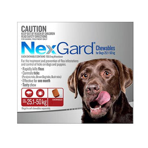 Merial NEXGARD CHEWABLES FOR DOGS (25 - 50 KG) RED - 3s | Choice Vet Pharmacy