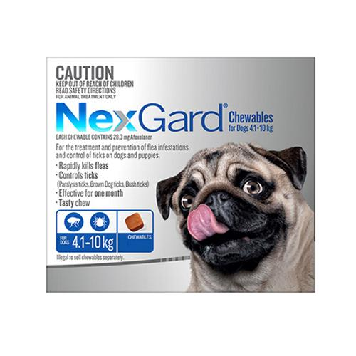 Merial NEXGARD CHEWABLES FOR DOGS (4.1 - 10 KG) BLUE - 6s | Choice Vet Pharmacy