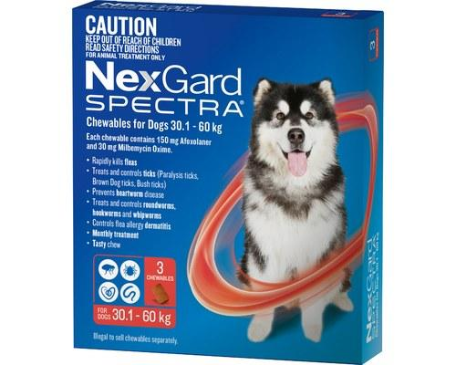 Merial NEXGARD SPECTRA 30-60KG 3PK RED | Choice Vet Pharmacy