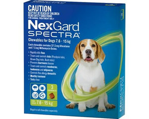 Merial NEXGARD SPECTRA 7.6-15KG 3PK GREEN | Choice Vet Pharmacy