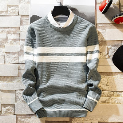 Mens Fashion Casual Shirt Collar Bottoming Sweater