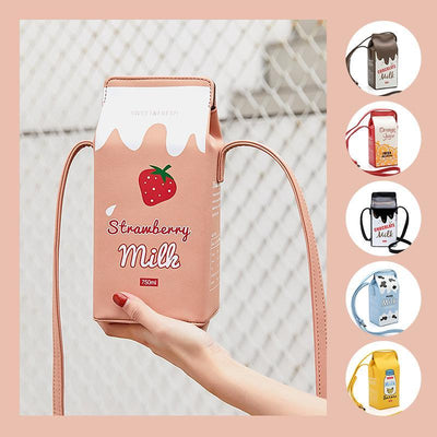 MVSTU™ Cute Milk Box Crossbody Bag / Casual Phone Purse