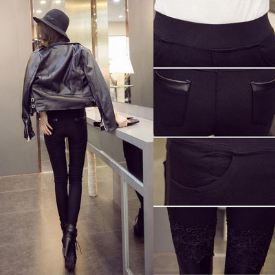 Womens Leggings With Lace Embroidery PU Elastic Long Pants