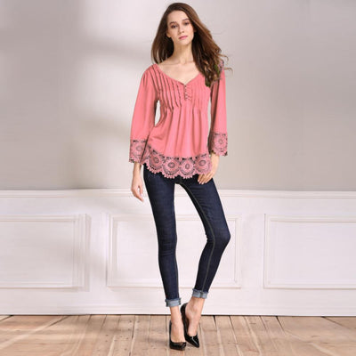MVSTU™ V-Neck Splicing Single-Breasted Blouse