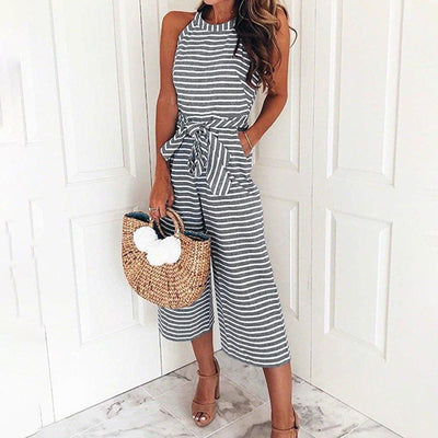 haloera™ Women Summer Striped Sleeveless Back Zipper Jumpsuits