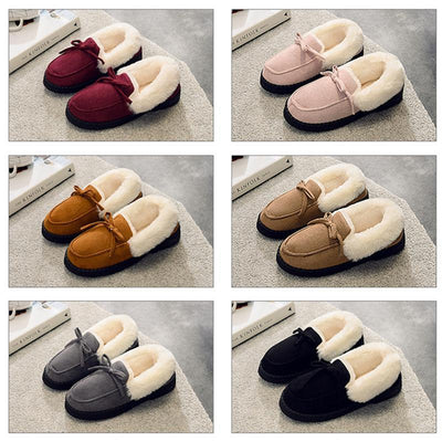 Women Faux Fur Lined Suede House Slippers