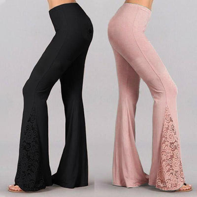 Lace Patchwork Bell Bottom Pants